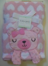 Girls Baby Gear Soft Pink White Bear Heart 3D Crinkle Paws Baby Blanket Nwt