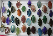 Lots 10pcs Oversize Natural gemstone/copper mixed Ring