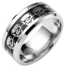Size 9 SILVER SKULLS Inlaid EBONY BLACK Ring Titanium Stainless Steel USA SELLER