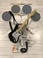 Wii Rock Band / Band Hero Bundle: Drums, Guitar, Mic, Dongles, Hub, Game, Remote