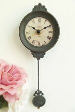 GORGEOUS! Chic Shabby French Grey Small Pendulum Wall Clock Paris Antique 27cm