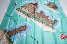 Ladies Vintage Acetate Scarf Venezia Made In Italy Ricordo Piza 100% Acetate