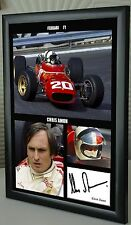 "Chris Amon F1 Ferrari Framed Canvas Signed Print ""Great Gift and Souvenir"""