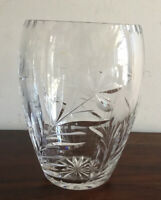 Magnificent Vintage  Solid Crystal Glass Vase Flower Design