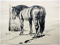 Paul Groß 1873-1942 Neue Sachlichkeit: Pferd Tuschpinsel 1931 58 x 43 cm