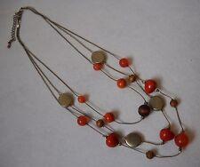 Orange Brown Silver Gemstone Wood Beaded 3 Strand Necklace Adjustable Chain