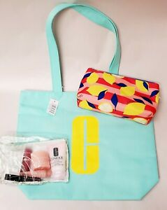 Sealed! Lemon Print Donald X Clinique 6 pc Skincare Makeup + Tote + Makeup Bag