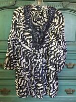 Magaschoni Collection Neimans Navy  Sz.16 Silk blouse/tunic jeweled neckline Hot