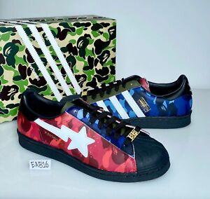 Adidas x Bape Superstar 80s Mixed Camo Blue Red GZ8982 A Bathing Ape Size 8-11.5