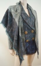 GIANFRANCO FERRE Greens Blues Wool / Cashmere Paisley Print Jacket & Scarf Sz:42
