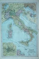 1900 Landkarte Italien ROM Palermo Sizilien Malta Neapel Toskana Korsika