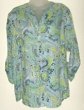 Women's NWT L blue paisley print 3/4 sleeve v-neck popover top (Basic Editions)