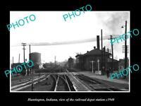 OLD LARGE HISTORIC PHOTO OF HUNTINGTON INDIANA, THE RAILROAD DEPOT STATION c1940
