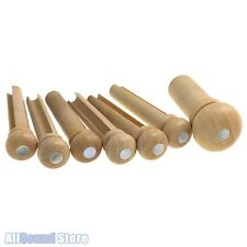NEW - Boxwood & Mother of Pearl MOP Dot Slotted Guitar Bridge Pin Set w/ Endpin