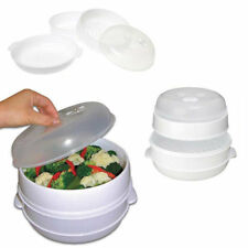 2 Tier Microwave Vegetable Steamer Pasta Rice Fish Steaming Pot Healthy Eating