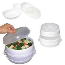 2 Niveau micro-ondes légumes Steamer pâtes riz poisson fumant pot Manger sainement