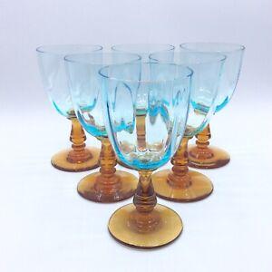 Service de six verres à vin en verre soufflé bleu ambre Portieux George Sand