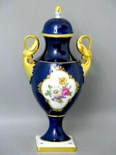 AK Kaiser Kobalt Schwanenhenkel Deckel Amphoren Vase um 1970