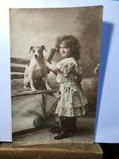 Postcard Young Girl and Jack Russell Hand-Painted Real Photograph Dated 1916