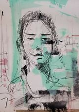 "JOSE TRUJILLO - CONTEMPORARY ACRYLIC PAINTING ABSTRACT Portrait ART 24"" Decor"