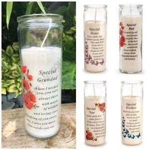 Glass Vase Memorial Candle Remembrance Graveside Gift Tribute Flower Garden