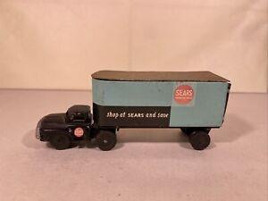 Vintage Metal shop SEARS Black Truck Blue Trailer Friction Toy Japan Linemar