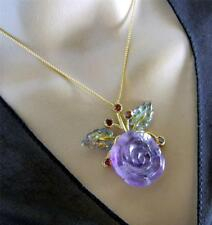 Vintage Genuine Amethyst ROSE Pendant With Chain