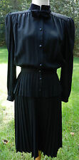 VALENTINO Vintage Dress Italy 44 S Black LS Pleated Skirt Button Top Velvet Bow