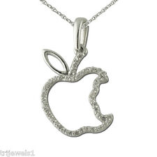 Diamond Apple Pendant 0.13 ct tw 925 Sterling Silver.With 18 inches Silver Chain
