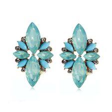 Betsey Johnson Aqua Blue Resin & Crystal Feathery Stud Earrings Turquoise