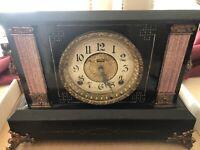 Antique INGRAHAM Beautiful Original Mantle Clock - Works and Includes Pendulum!