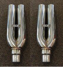 2x 1320 Performance Blastpipes blast pipe exhaust STAINLESS UNIVERSAL MUFFLER V2