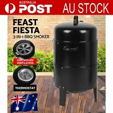 3in1 BBQ Grill Roaster Smoker Steamer - Steel Portable Outdoor Charcoal Cooking^