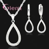 925 Sterling Silver Waterdrop Crystal Rhinestone Pendant Necklace Earring Set UK