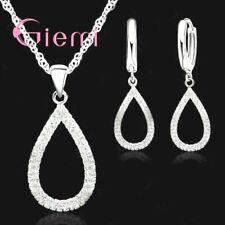 925 Sterling Silver Waterdrop Crystal Rhinestone Pendant Necklace Earring Set UK