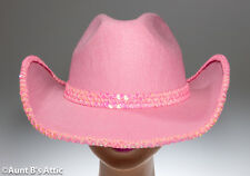 Cowgirl Hat Pink Felt Western Style Costume Hat With Sequin Trim