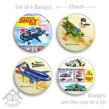 "DINKY TOYS Captain Scarlet THUNDERBIRDS SPV UFO Advert -  1"" Badge x4 Badges NEW"