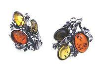 Damen Ohrringe echt Bernstein Ohrclip in echt Silber 925 Sterlingsilber Qualität