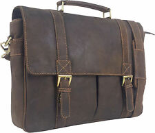 "UNICORN Real Leather 16.4"" Laptop Bag Netbook Messenger Briefcase Brown #2J"