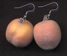 Huge Realistic Funky FUZZY PEACH EARRINGS Peaches Fruit Fun Food Costume Jewelry