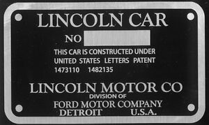 Lincoln K Series Cowl Plate 1931 VIN ID Identification Can make others Spec Ords