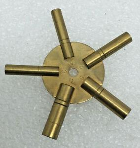 Antique Clock Brass 5 Prong Winding Key