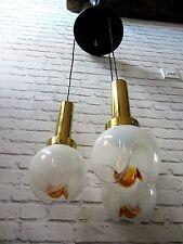 Mid century Italian Mazzega Murano triple hanging chandelier lights mcm glass