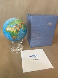 "MOVA Globe Relief Map Blue 4.5"", Original Clear Lucite Base, Rotating"
