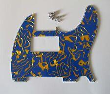 Tele/Telecaster Style Humbucker Pickguard Scratch Plate Blue Shell 3 Ply