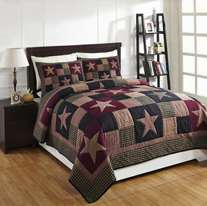 """3 Piece KING """"PLUM CREEK"""" Quilted Bedding SET ~ Country, Primitive***NEW"""