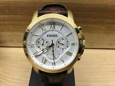 Fossil FS4767 Grant Men's Brown Leather Gold Watch