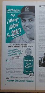 1957 magazine ad for Mennen Deodorant - Lou Boudreau Red Sox baseball star