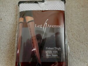 1  X FISHNET THIGH HIGH WITH BOW SEAM NEW ONE SIZE BY LEG AVENUE
