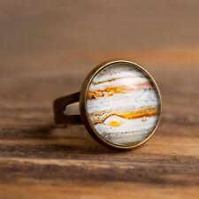 Planet Jupiter handmade ring, adjustable statement ring, brass/silver plated